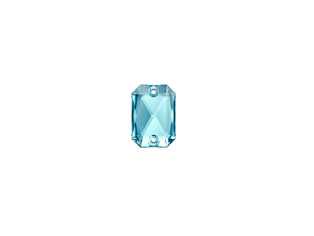 EMERALD CUT SEW-ON 14MM AQUA
