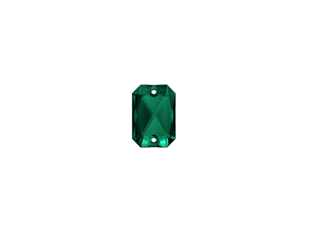 EMERALD CUT SEW-ON 14MM EMERALD