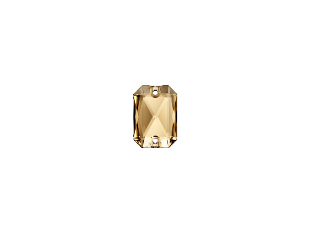 EMERALD CUT SEW-ON 14MM GOLD SHADOW