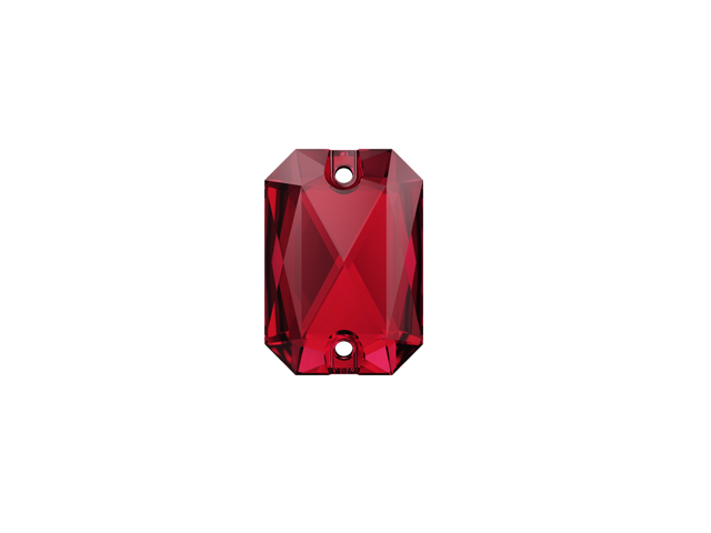 EMERALD CUT SEW-ON 20MM SCARLET