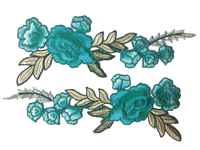 GRACE EMBROIDERED MOTIF - IRON ON BLUE