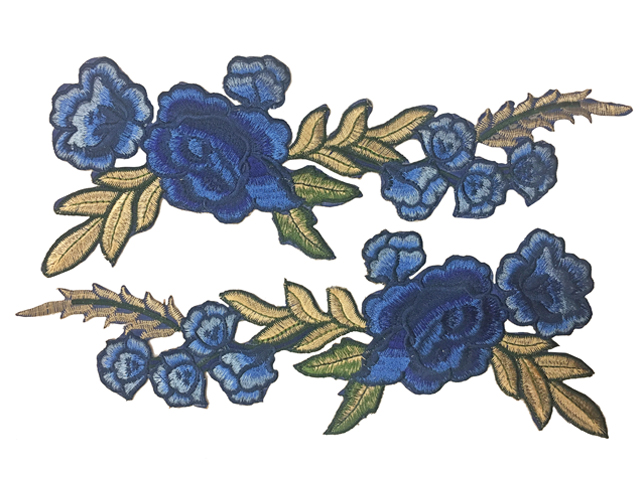 GRACE EMBROIDERED MOTIF - IRON ON DK-BLU