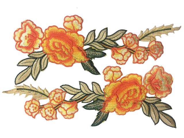 GRACE EMBROIDERED MOTIF - IRON ON ORANGE