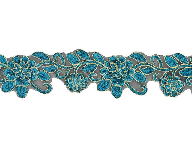 METALLIC DAISY RIBBON GOLD ON BLUE ZIRC