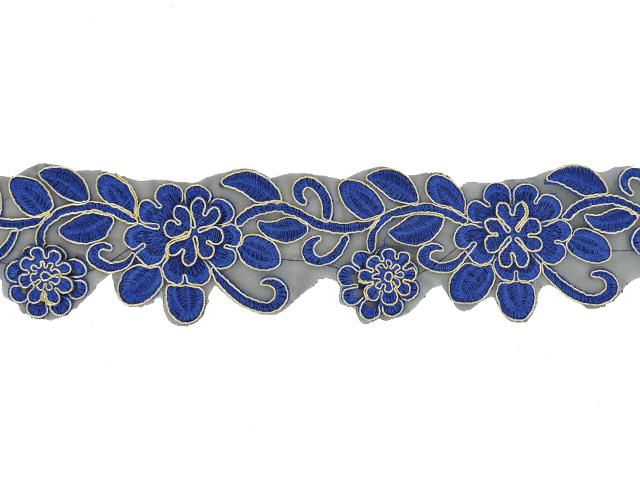 METALLIC DAISY RIBBON GOLD ON BLUE