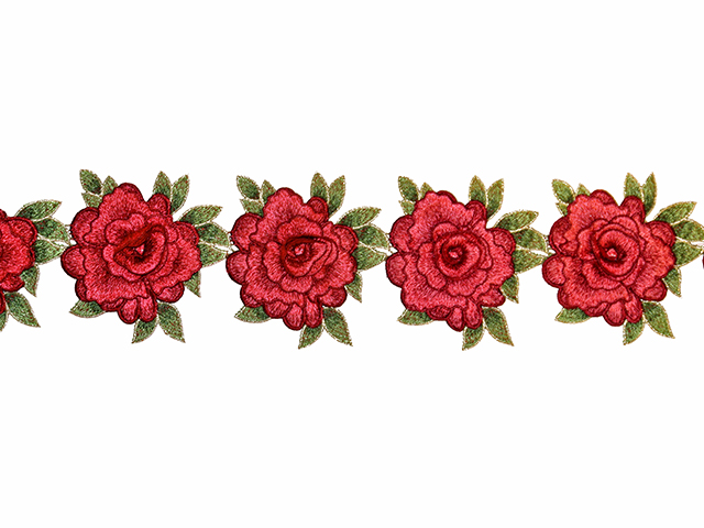 EMILIA EMBROIDERED RIBBON RED GREEN