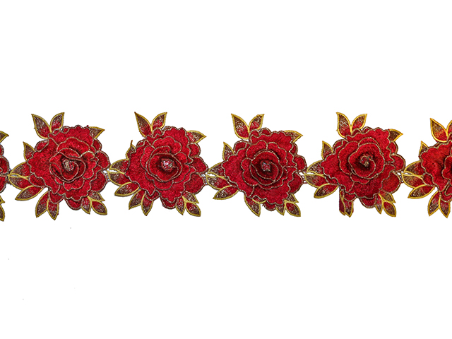 GRETTA EMBROIDERED RIBBON RED GOLD