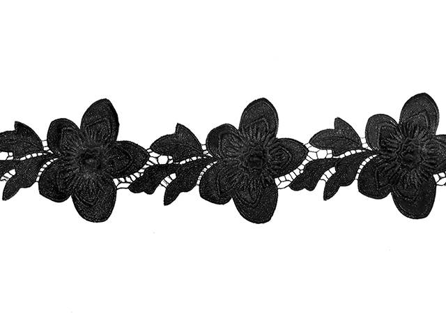 AYLA EMBROIDERED RIBBON BLACK