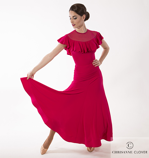 EMPRESS BALLROOM SKIRT CHERRY