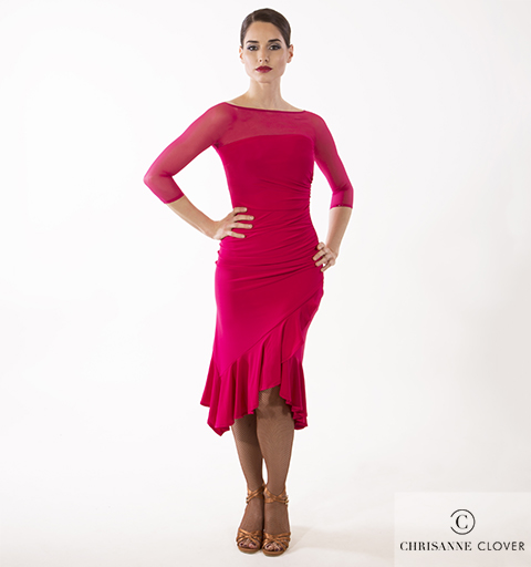 FLARE LATIN DRESS LARGE CHERRY RED