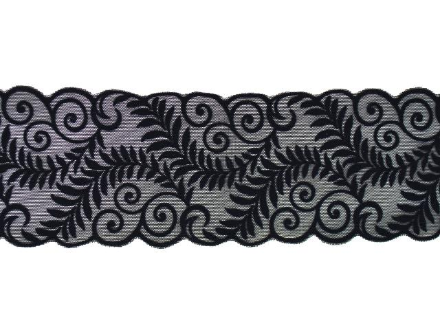 VIENNESE FLOCK STRETCH BORDER BLACK-BLK