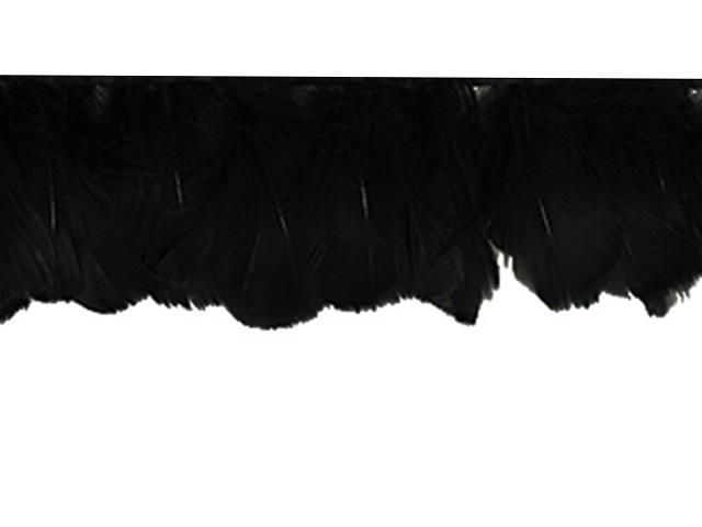GOOSE FEATHER FRINGE BLACK