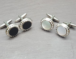 CUFFLINKS PAIR WITH CRYSTALS