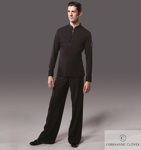 MENS FOUR BUTTON LATIN TOP X SMALL BLACK