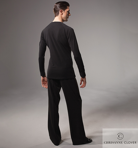 MENS BUTTON FRONT LATIN TOP LARGE BLACK