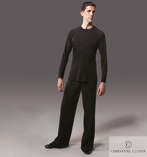 MENS BUTTON FRONT LATIN TOP