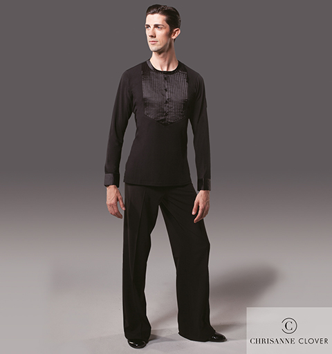 MENS PINTUCK LATIN TOP SMALL BLACK