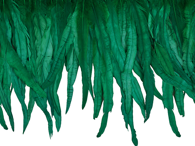 LARGE COQUE FRINGE - APPROX 25CM GREEN