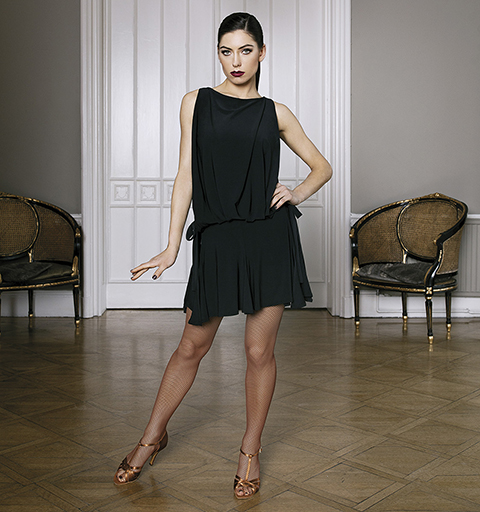 LONDON LATIN DRESS LARGE BLACK