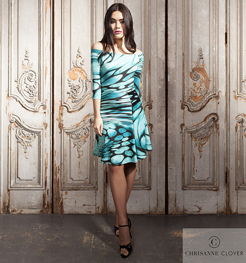 MANHATTAN LATIN DRESS LARGE ABSTRACT PRI