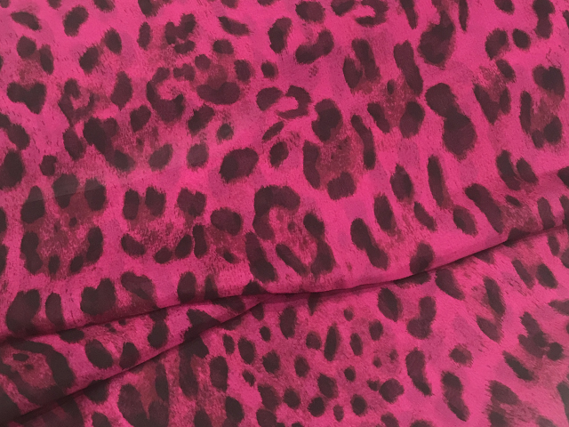 BOBCAT PRINT SILK CHIFFON BLACK ON PINK