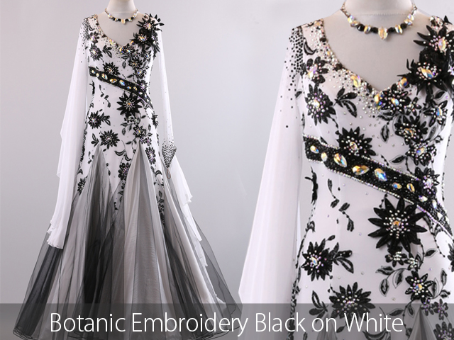 BOTANIC EMBROIDERY ON STRETCH NET BLACK