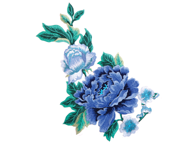 CARA EMBROIDERED FLOWER MOTIF MID SKY
