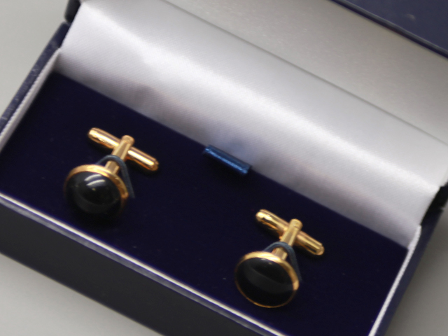 ROUND CUFFLINKS GOLD BLACK