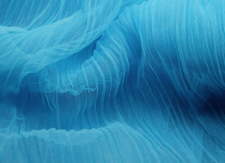 PLEATED SOFT TULLE TUQUOISE