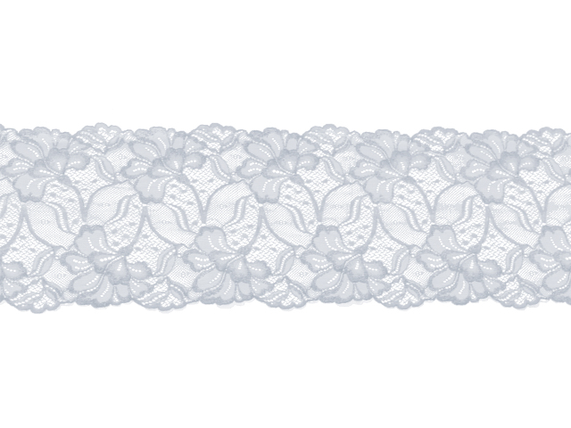 JESSICA STRETCH LACE BORDER WHITE SILVER