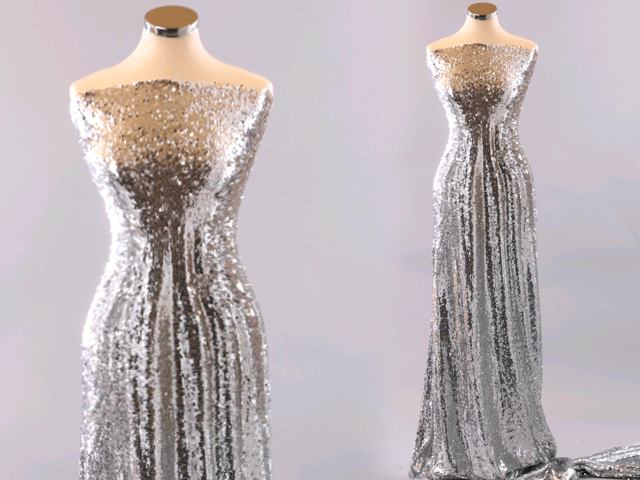 ALL OVER SEQUINS ON NET SILVER