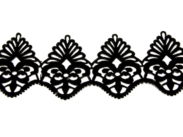 ROYAL GARLAND VELVET RIBBON-IRON ON BLAC